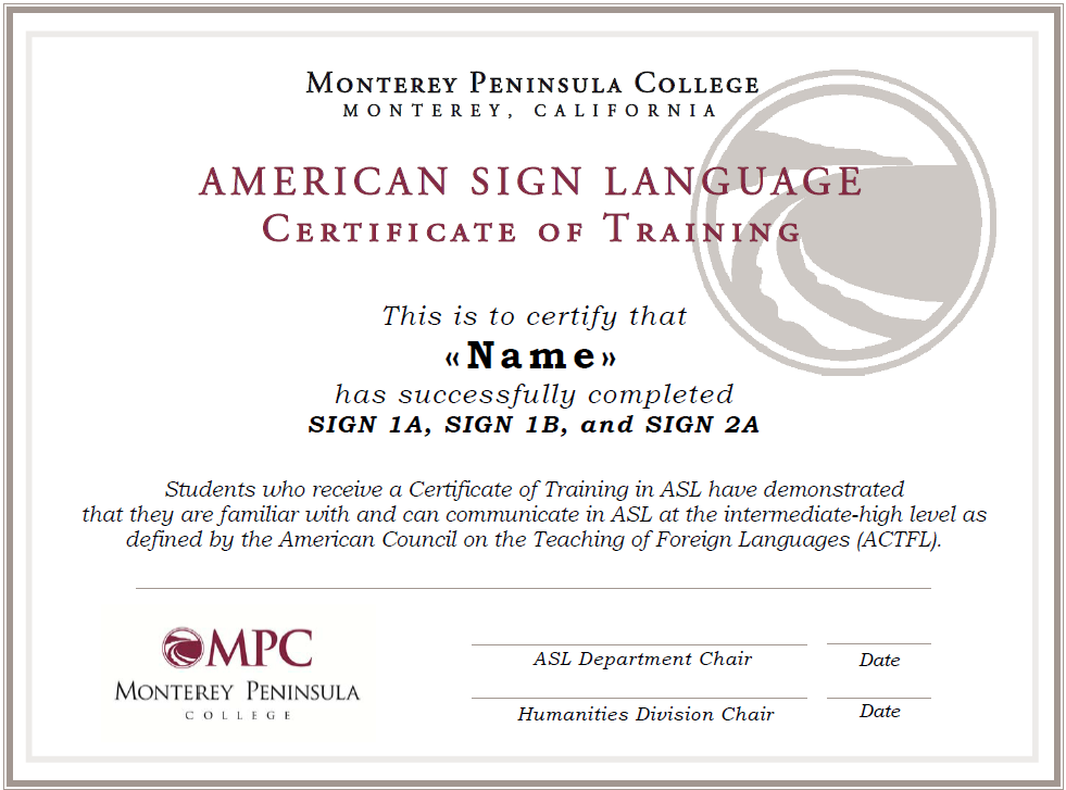 Certificate Of Training In Asl Monterey Peninsula College