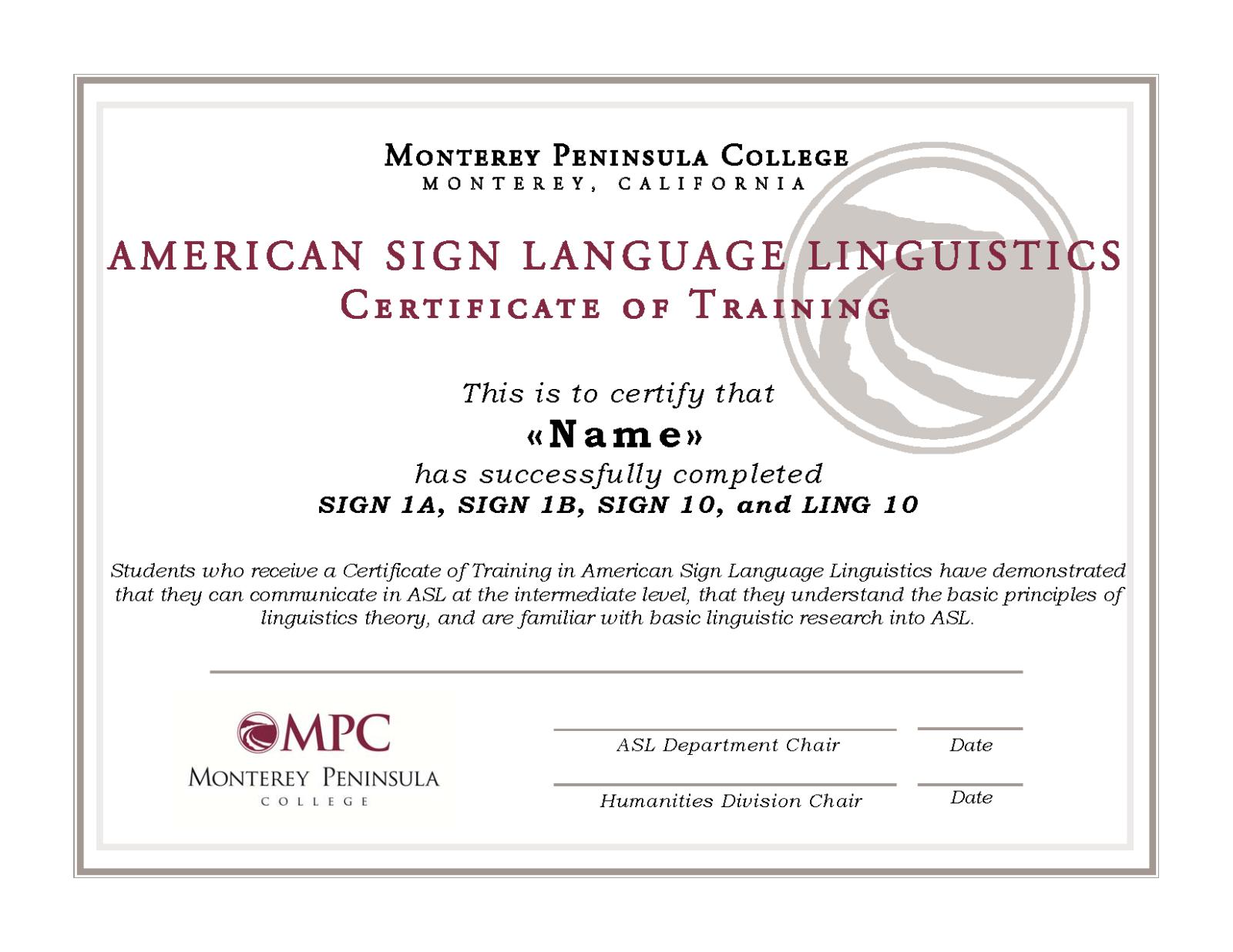 Certificate Of Training In Asl Linguistics Monterey Peninsula College