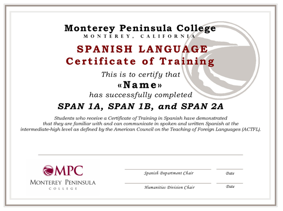 certificate of training in spanish monterey peninsula college