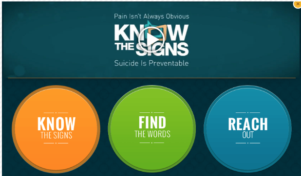 Know the Signs campaign and link to suicideispreventable.org