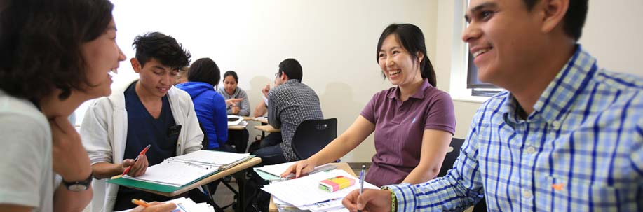 A group of students in the ESL classroom.