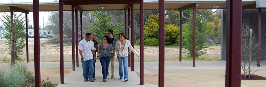 Students walking through the Marina Center campus.