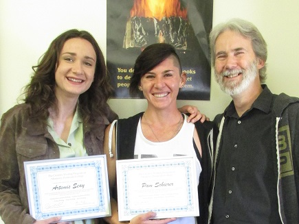 Artemis Seay, Pam Schierer and Henry Marchand with Creative Writing Certificates Awarded May 17, 2017