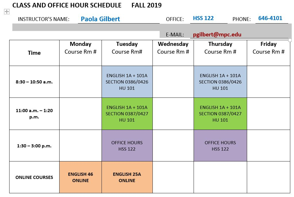 CLASS OFFICE HOURS FALL 2019