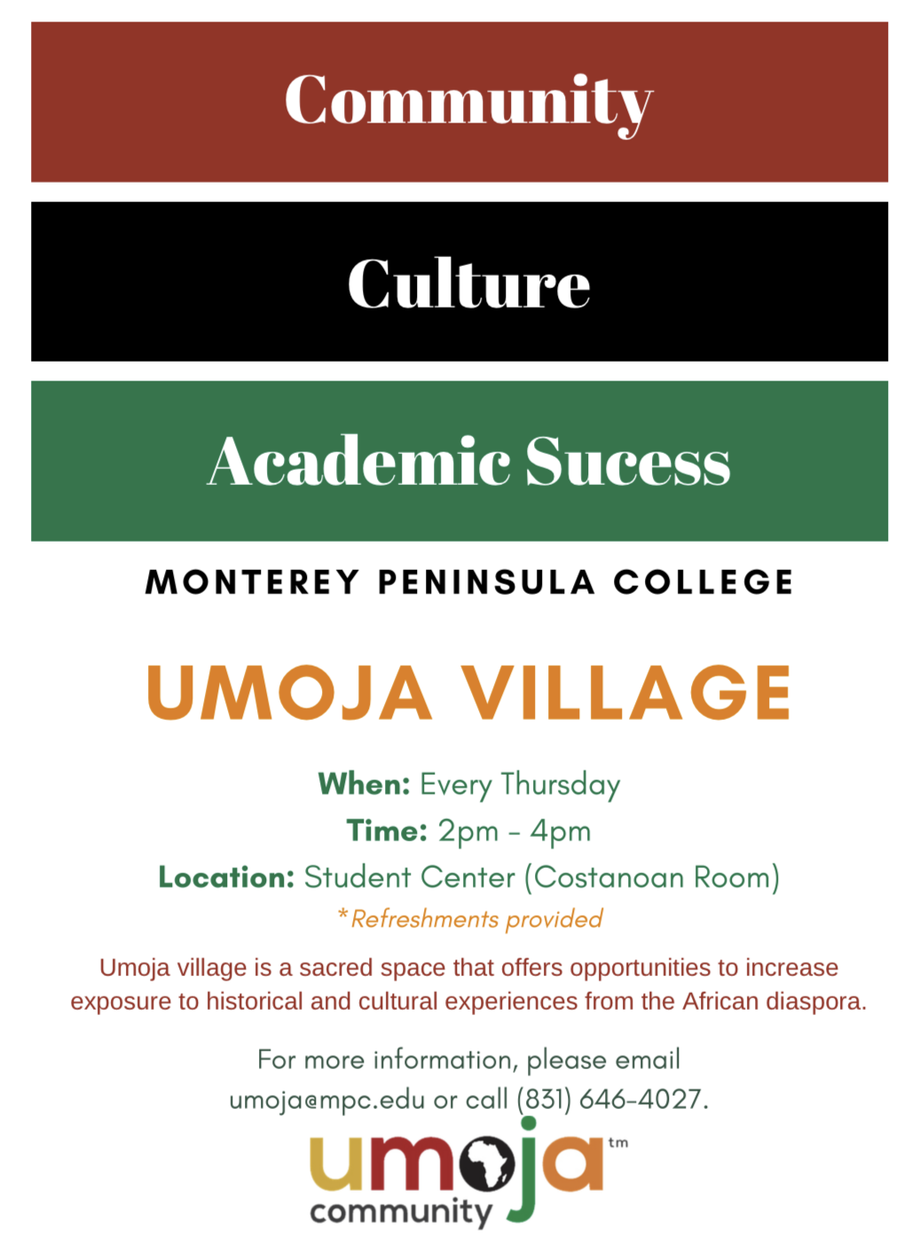 Flyer Promoting the weekly Umoja Village