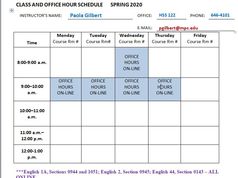 CLASS AND OFFICE HOURS SPRING 2020 b