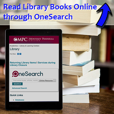 Photo of a tablet in front of books.  Read library books online through One Search. Find it above.
