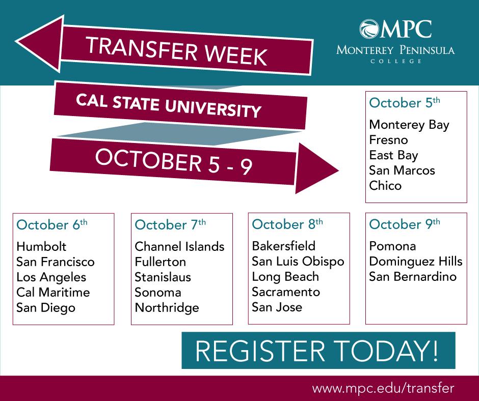 CSU Chico (Chico State): Transfer Day 2020 | Calendar | Monterey
